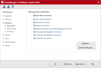 Einstellungen > AntiSpam > Spam-Filter